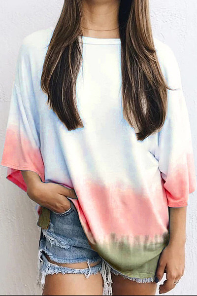 Casual Gradient Round Neck Multi-Color Long-Sleeved T-Shirt