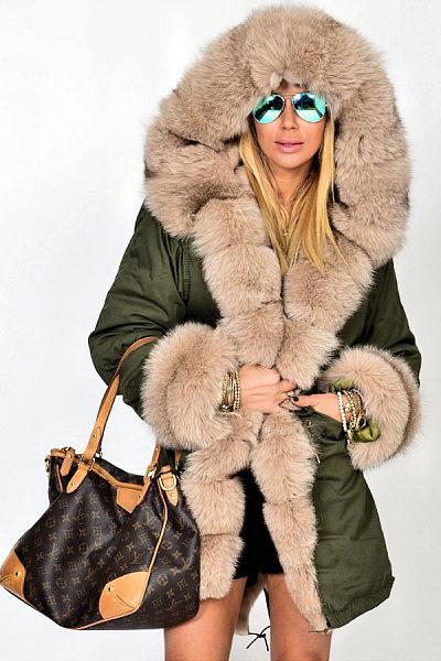 Faux Fur Collar  Patch Pocket  Plain Outerwear
