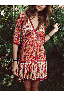 V-Neck Bohemian Paisley Printed Skater Dress