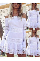 Off Shoulder  Decorative Lace Ruffle Trim See-Through  Crochet Tiered  Lace  Bell Sleeve Shift Dresses