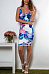Spaghetti Strap  Floral Printed  Sleeveless Bodycon Dresses