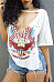 V Neck  Side Slit  Hollow Out Letters Printed T-Shirts