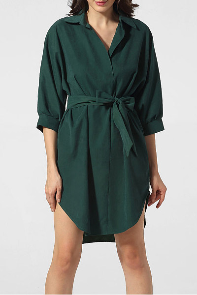 Turn Down Collar Belt Plain Casual Dress
