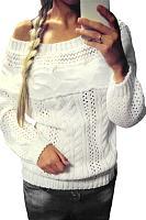 White Off Shoulder Hollow Long Sleeves Jumper