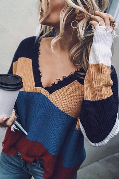 Deep V Neck  Striped Sexy Sweaters