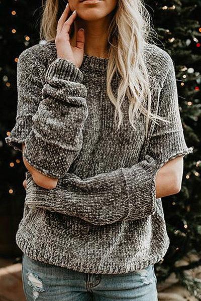 Round Neck  Broken Holes  Plain Sweaters