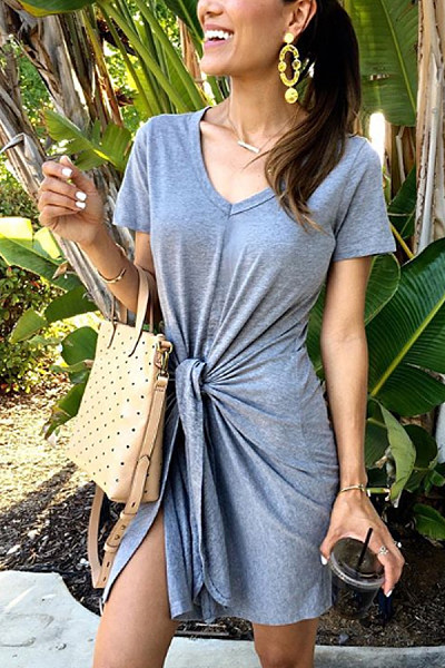 Casual Pure Color V Neck Knotted Dress