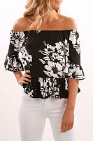 Off Shoulder  Ruffled Hem  Smocked Bodice  Printed  Bell Sleeve Blouses