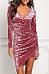 V Neck  Asymmetric Hem  Plain  Long Sleeve Bodycon Dresses