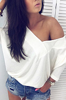 Deep V Neck  Plain   Sweatshirts