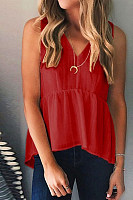 V Neck  Loose Fitting  Plain Vests