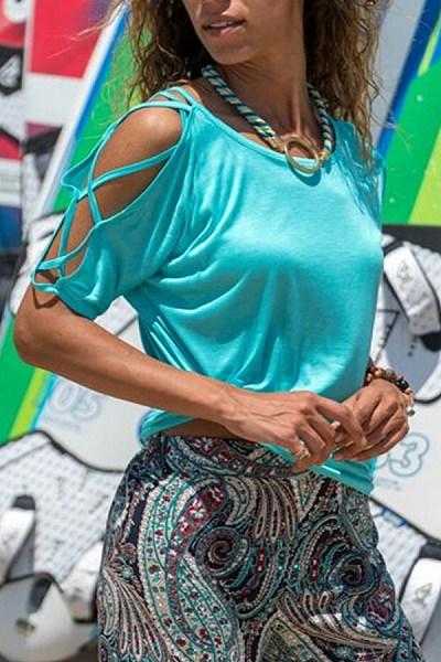 Fashion Halter Round Collar Off Shoulder Sleeve Solid Color T-Shirt