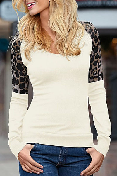 Round Neck  Leopard Patchwork T-Shirts
