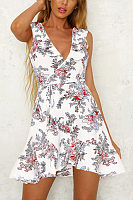 Deep V Neck  Belt  Floral Printed  Sleeveless Skater Dresses