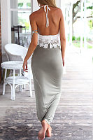 Halter  Asymmetric Hem Backless  Exposed Navel  Hollow Out Two-Piece Outfits