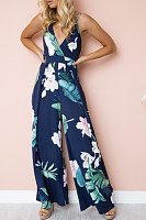Deep V Neck  Backless  Print  Sleeveless Jumpsuits