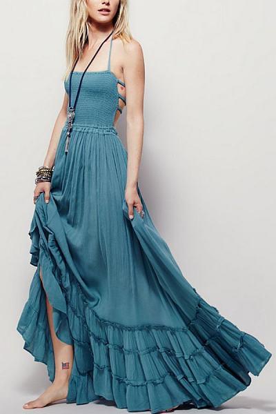 Halter Cross Straps Empire Line Maxi Dresses