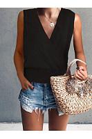Deep V Long Sleeve Solid Color Knit T-Shirt