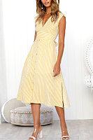 Deep V Neck  Slit  Striped  Sleeveless Maxi Dresses
