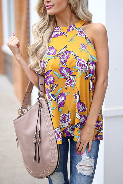 Crew Neck  Floral Printed Shirts