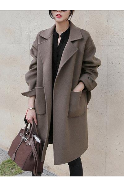 Lapel Belt Plain Patch Pocket Woolen Wrap Coat