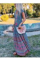Bohemian V Neck Short Sleeve Floral Pattern Loose Dress
