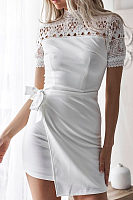 High Neck  Belt  Hollow Out Patchwork Plain  Short Sleeve Bodycon Dresses