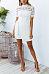 High Neck  Belt  Hollow Out Patchwork Plain  Short Sleeve Bodycon Dresses