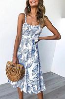 Leaf Print With Ruffled Women's Dress