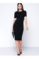 Contrast Cuff Bodycon Midi Dress
