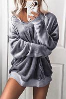 V  Neck  Plain  Basic  Sweatshirts