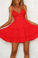 Spaghetti Strap  Backless  Plain  Sleeveless Skater Dresses