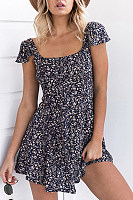 Square Neck  Backless Bowknot  Printed  Polyester Skater Dress