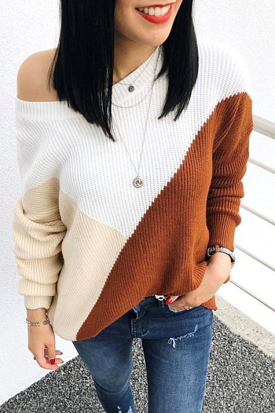 One Shoulder  Patchwork Sweaters