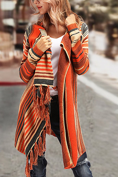 Fringe Snap Front  Striped Cardigans