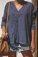 V Neck  Asymmetric Hem Single Breasted  Striped T-Shirts