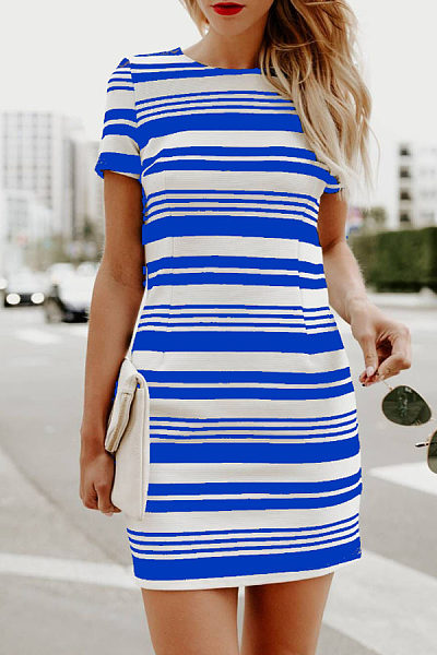 Round Neck  Striped  Short Sleeve Bodycon Dresses