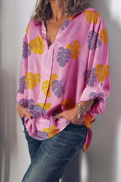 Casual Long Sleeve Printed Colour Loose Blouses