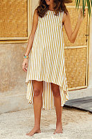 Round Neck  Asymmetric Hem  Striped  Sleeveless Maxi Dresses