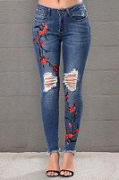 Women's Commuting High-Waist Embroidery Broken Hole Jeans