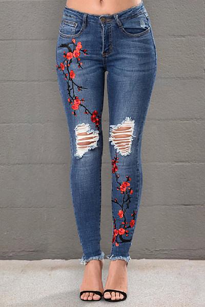 Women's Commuting High-Waist Embroidery Broken Hole Jeans