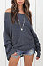 Scoop Neck  Patchwork  Two Way  Plain Sweaters