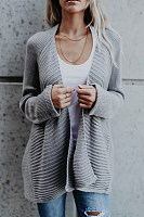 Snap Front  Plain  Basic Cardigans