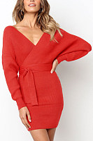 Surplice  Belt Loops  Plain  Long Sleeve Bodycon Dresses