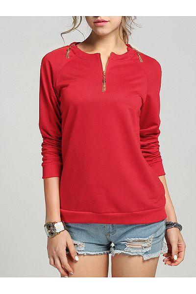Round Neck Tassel Zips Plain Long Sleeve T-Shirt