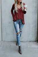V Neck  Patchwork Plain T-Shirts