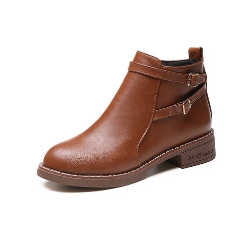 Plain  Chunky  Low Heeled  Faux Leather  Round Toe  Casual Boots