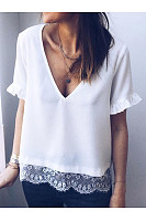 V Neck Short Sleeve Lace Patchwork T-Shirts