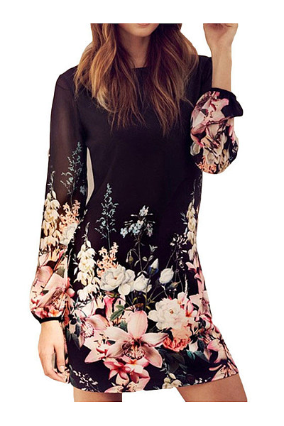 Crew Neck  Floral  Blend Bodycon Dress