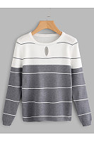 Round Neck  Keyhole  Color Block Stripes Sweaters